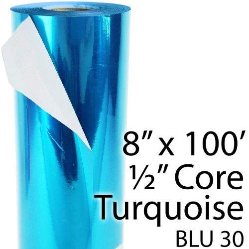 """8"""" x 100' Turquoise / Teal Colored Thermal Reactive Foil Roll"""