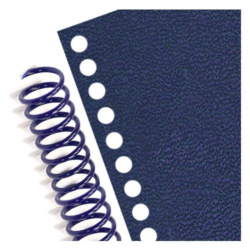 43 Hole Coil Punched Royal Blue Vinyl Report Covers - Letter Size