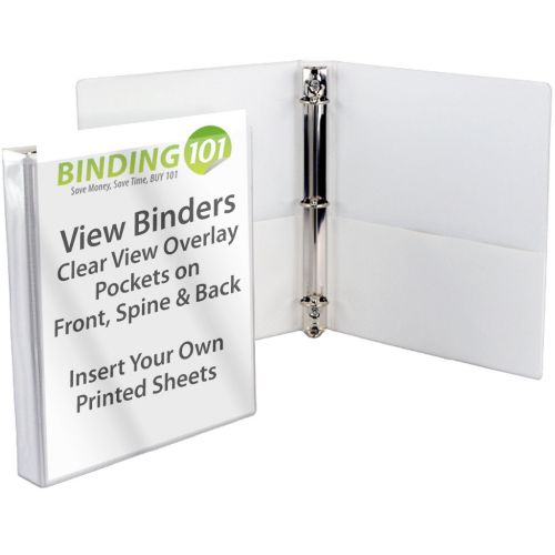"""1"""" White Letter Size View Binders [Slant-D Ring] (12/Bx)"""