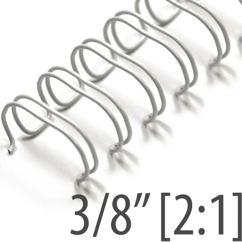 """3/8"""" White Wire-O Binding Supplies [2:1 Pitch, 65 Sheet Capacity (approx)] (100/Bx)"""
