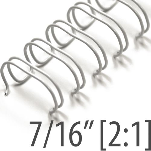 "7/16"" White Wire-O Binding Supplies [2:1 Pitch, 80 Sheet Capacity (approx)] (100/Bx)"
