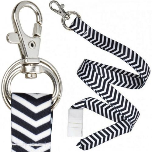 Zig-Zag Lanyards [Black & White] (100/Bx)